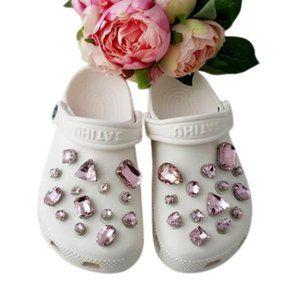 Croc Shoe Pendant Rhinestone Charms PINK